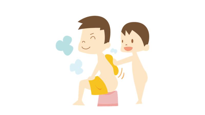 父の背中を洗う子供