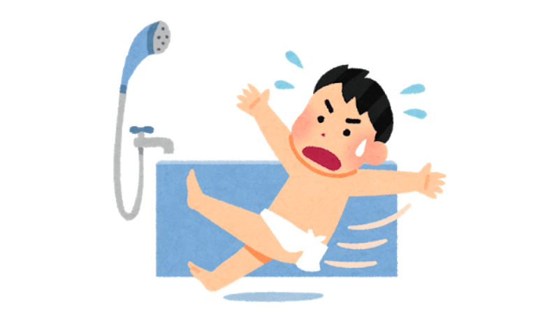 お風呂で転ぶ男性