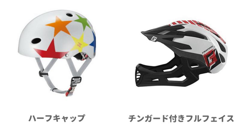 ハーフキャットとフルフェイスのヘルメット