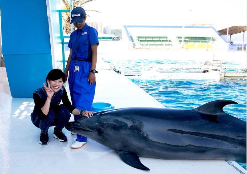 イルカと記念撮影