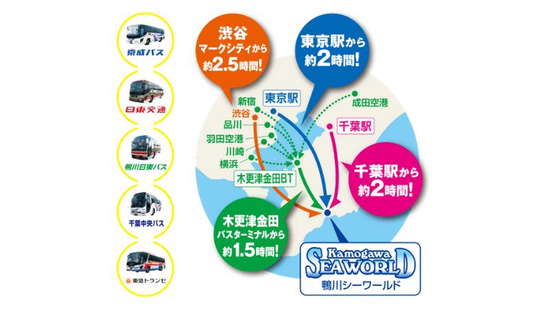 鴨川シーワールド高速バス往復乗車券と入園券のセットプラン