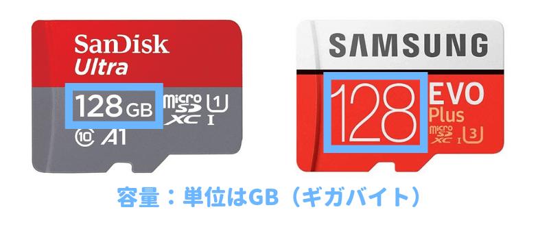 マイクロSDカードの容量