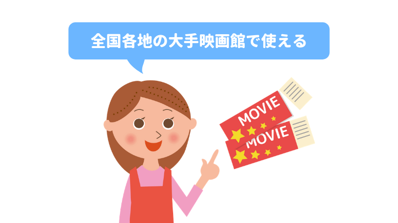 全国各地の映画のチケットが購入できる