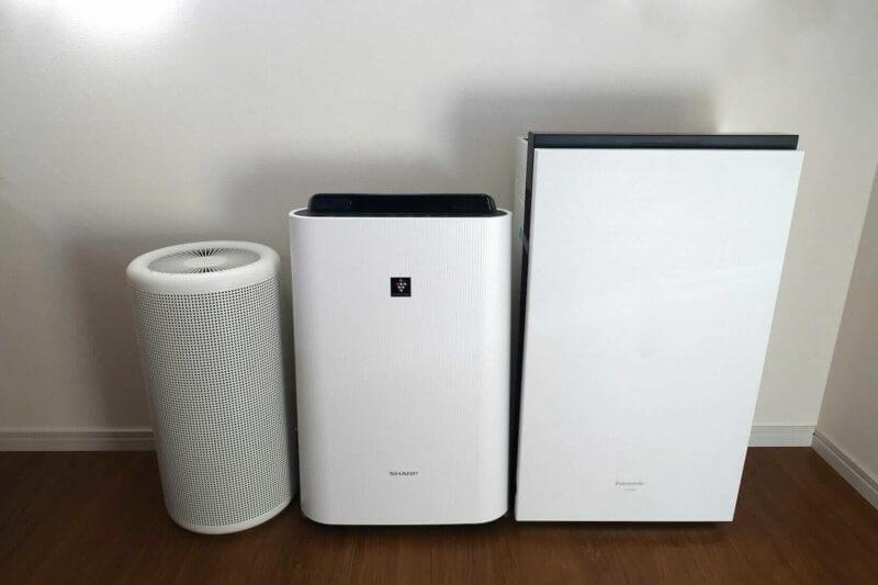 ジアイーノの大きさを他社の空気清浄機と比較