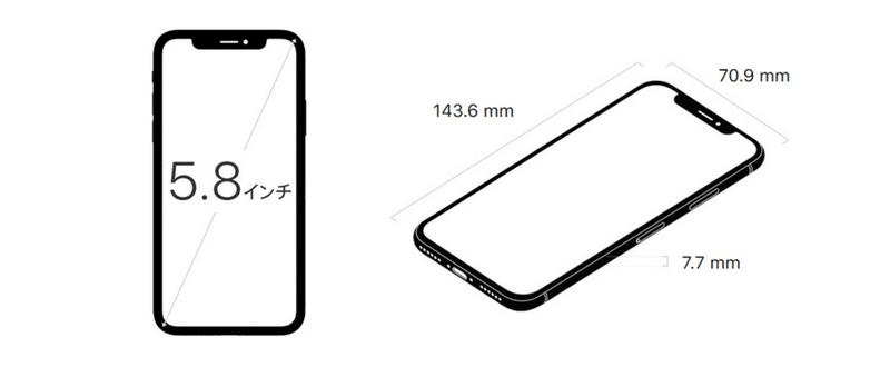 iphoneXの大きさを示す