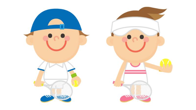 テニスする子供のイラスト