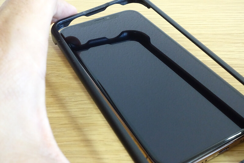 iPhoneのフィルム貼り付け用ガイド枠