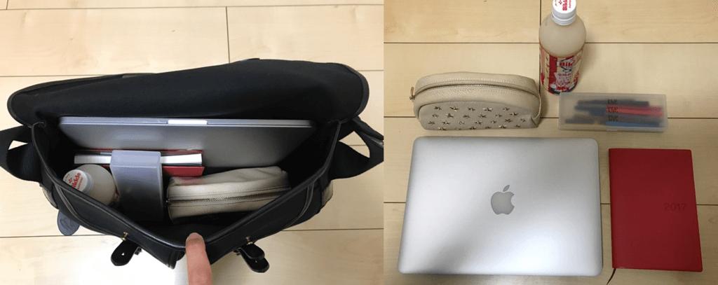 Bradyのバッグにパソコンやペットボトルを入れて見た