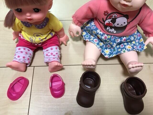 メルちゃんとポポちゃんの靴を比較