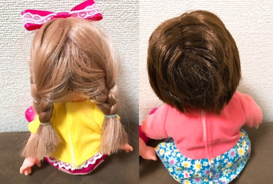 メルちゃんとポポちゃんの髪質を比較